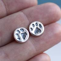 paw print earrings silver studs by green river studio ...