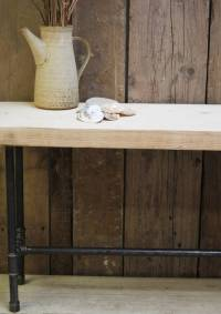 industrial wood and steel pipe bench by ma design ...