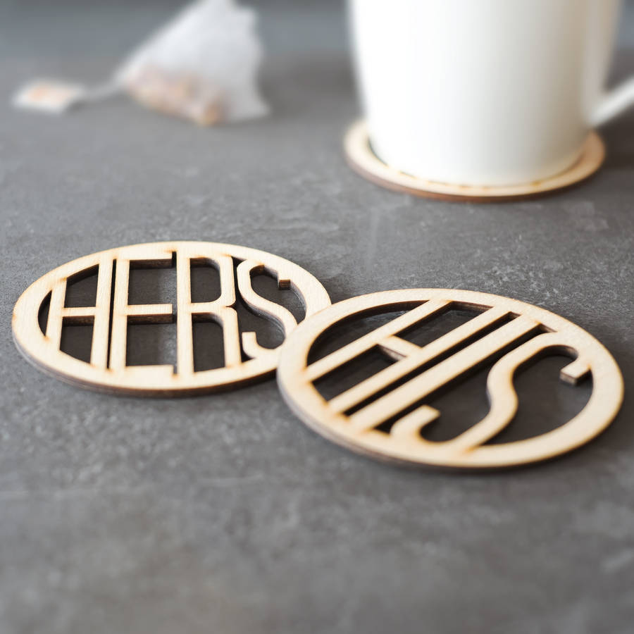 his and hers wooden coasters by clouds and currents  notonthehighstreetcom