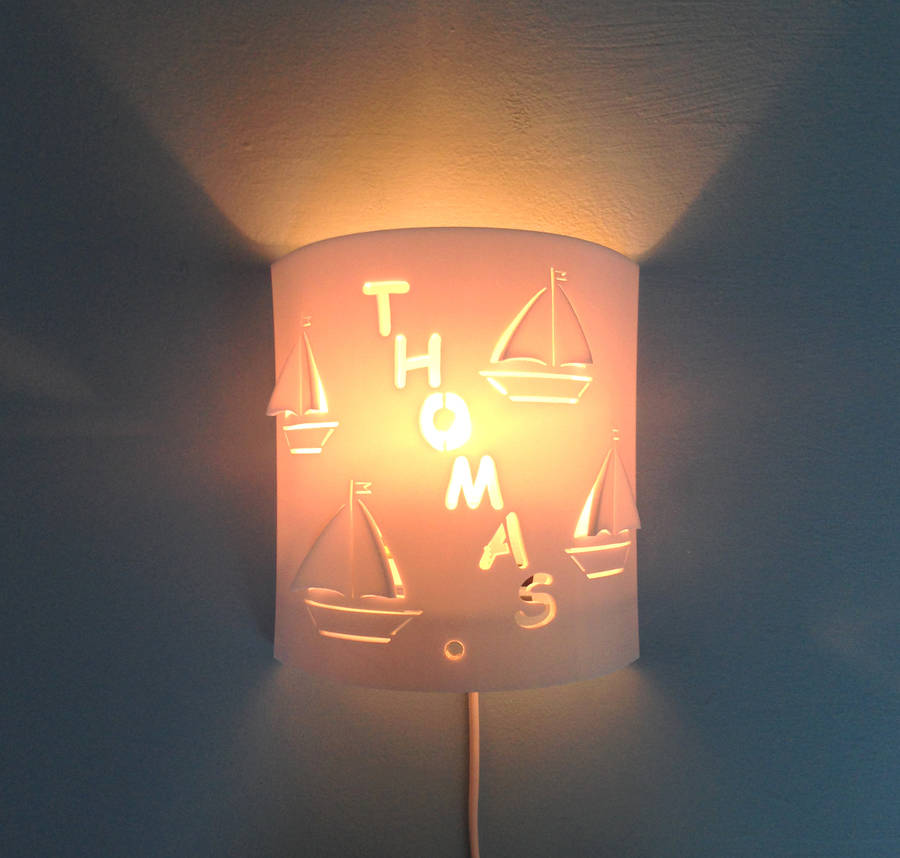Personalised Boat Wall Night Light By Kirsty Shaw