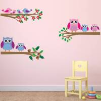 owls and birds branch wall stickers by mirrorin ...