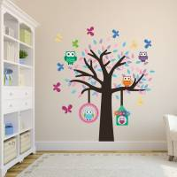 owl tree fabric wall sticker set by mirrorin ...