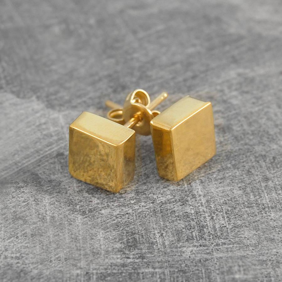 disc square silver/gold stud earrings by otis jaxon silver