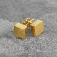 disc square silver/gold stud earrings by otis jaxon silver