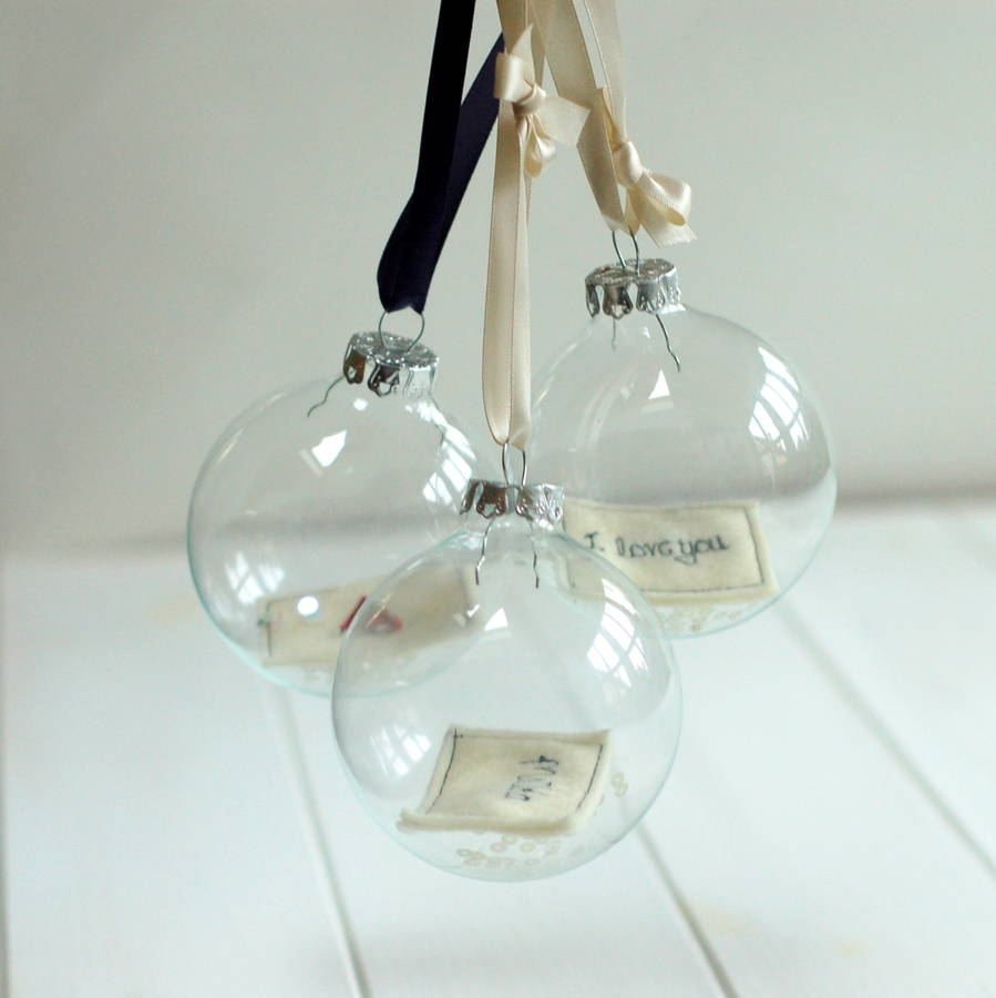 Glass Bauble With Personalised Embroidered Note By