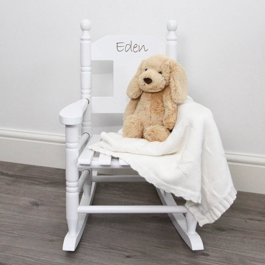 personalized childrens chair canada lightweight folding beach lounge personalised child s rocking by my 1st years white