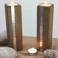 two personalised wooden tealight candle holders by warner ...