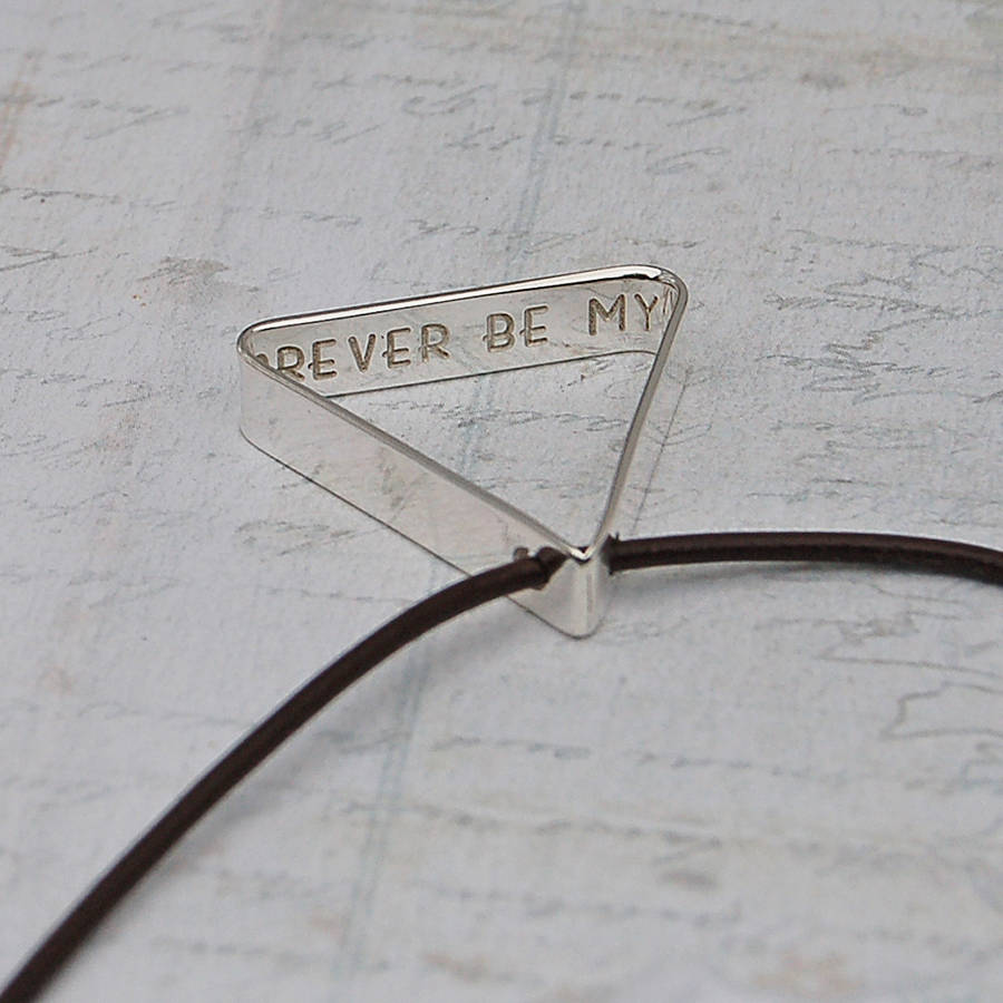 mens secret message silver triangle necklace by
