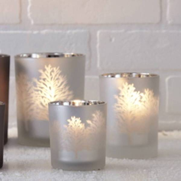Frosted Glass Tree Silhouette Candle Holder Ella James