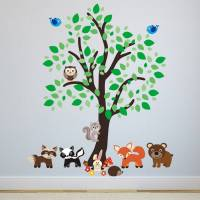 forest tree with woodland animals wall sticker by mirrorin ...