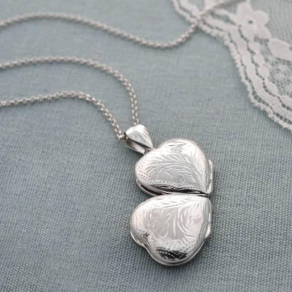 Engraved Four Piece Heart Locket Martha Jackson