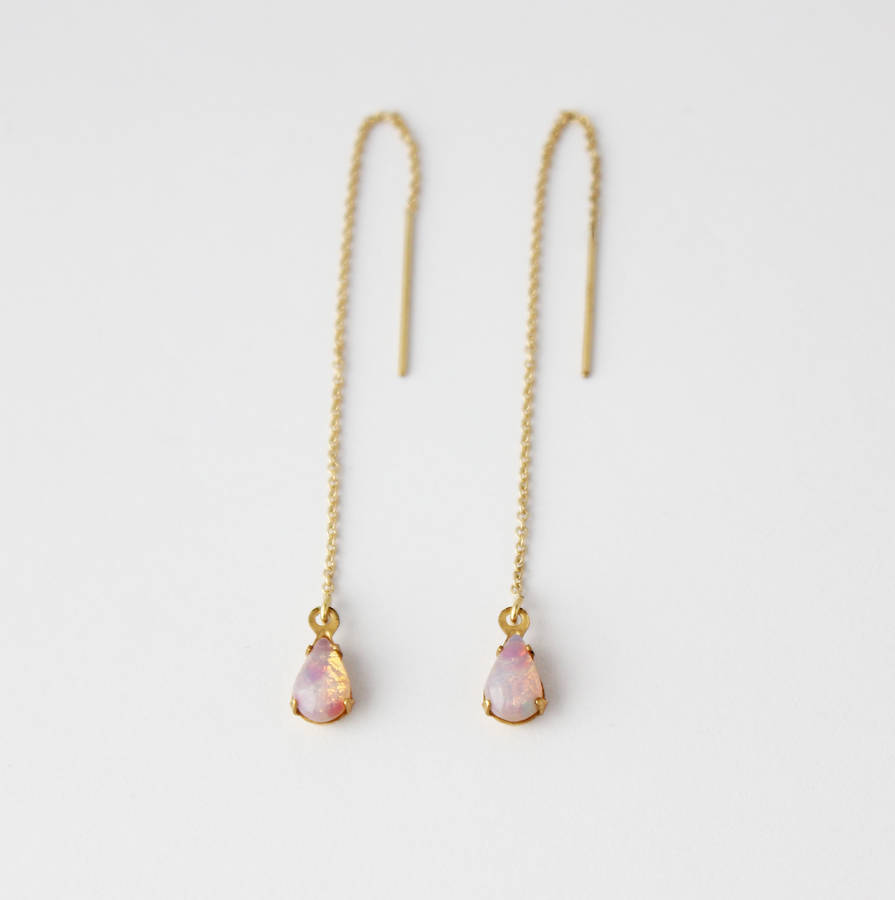gold filled teardrop threader earrings by beadin' nora
