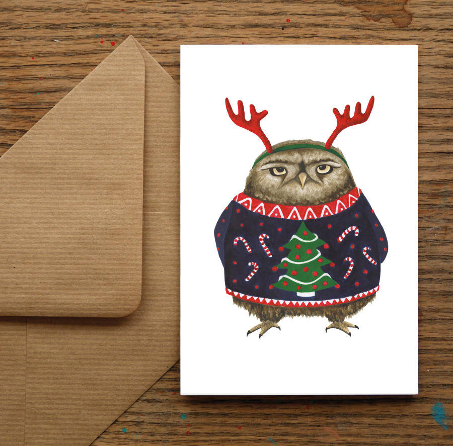 Grumpy Owl Christmas Cards By Nic Allan