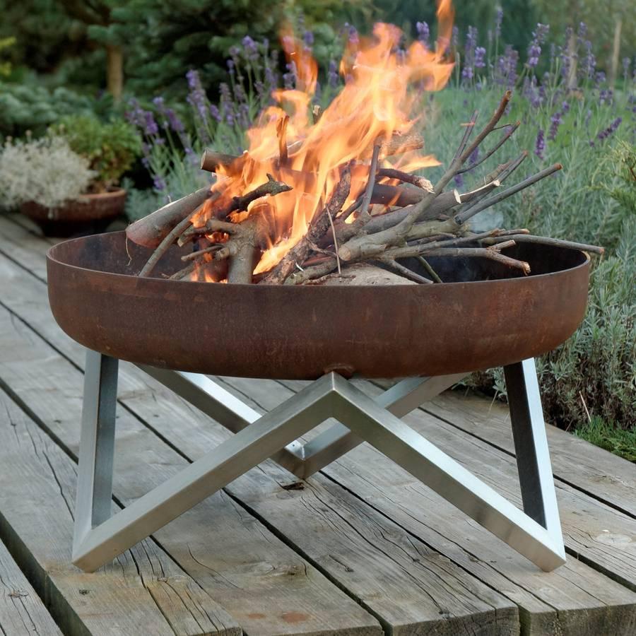 personalised yanartas steel fire pit by arpe studio uk