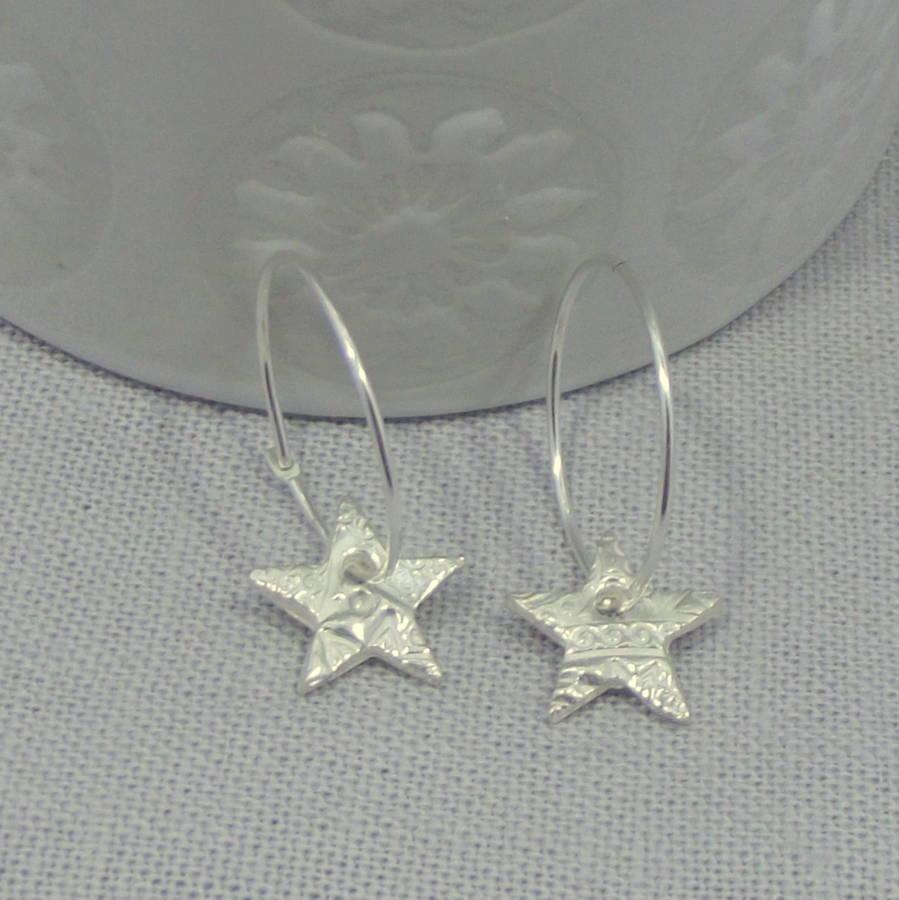sterling silver star hoop earrings by lucy kemp silver