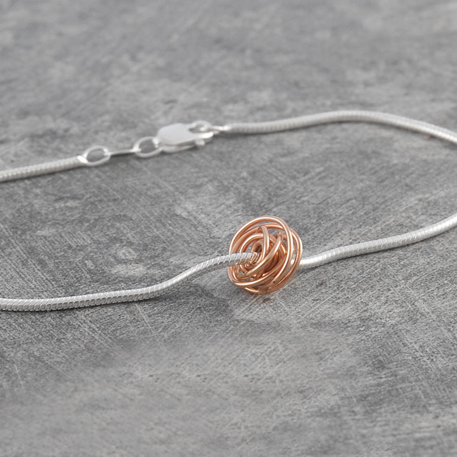 ball charm rose gold wire wrapped bracelet by otis jaxon