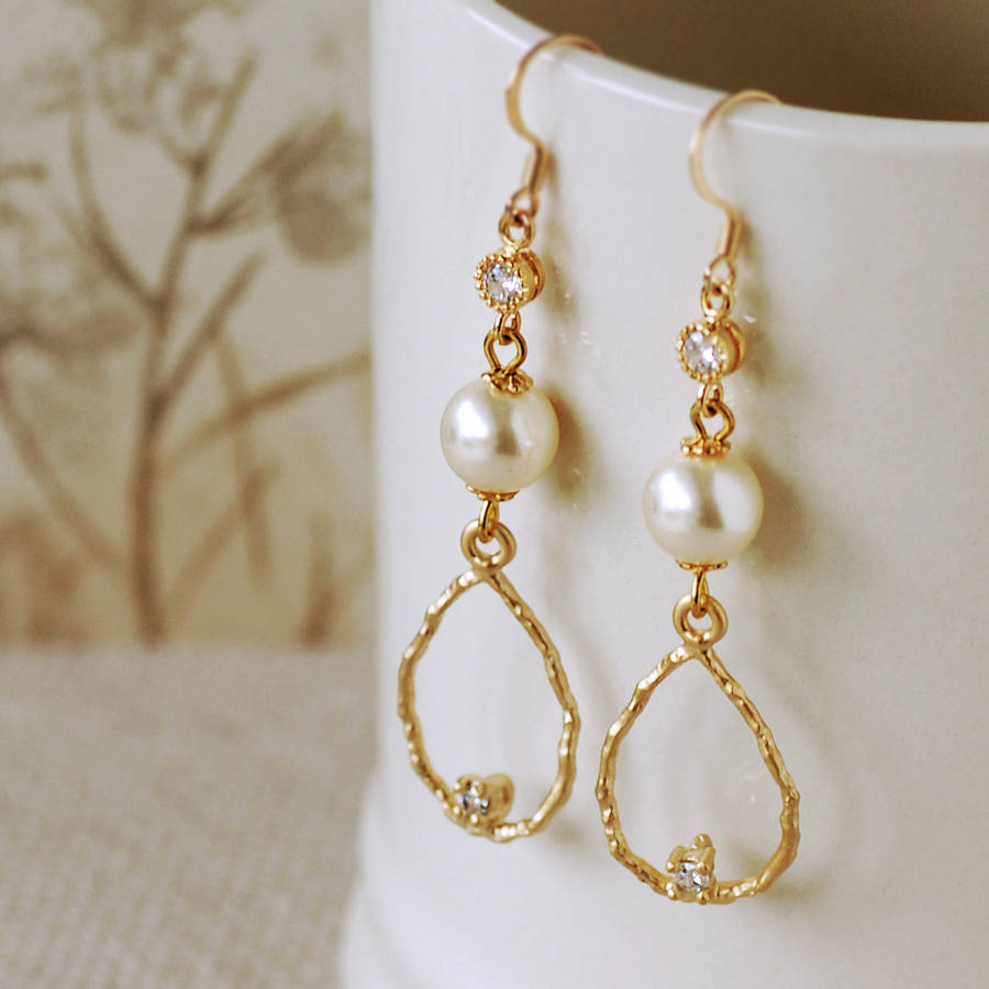 elegant pearl drop earrings by highland angel