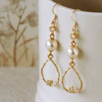 elegant pearl drop earrings by highland angel