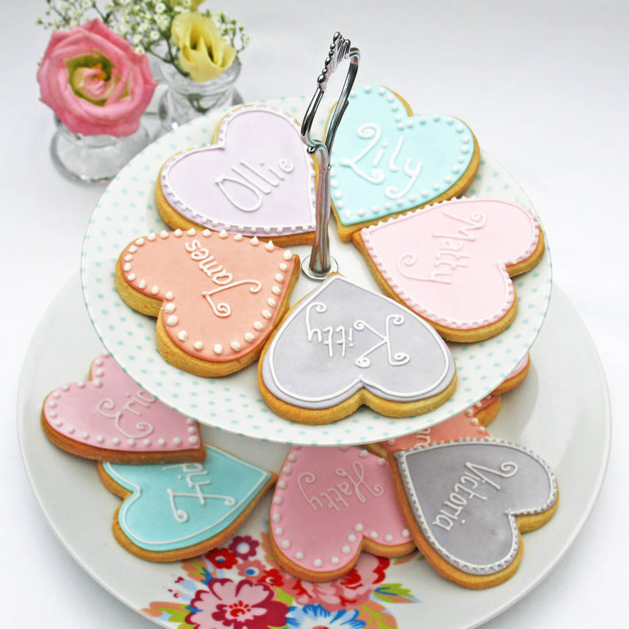 Heart Shaped Personalised Biscuit By Le Trousseau