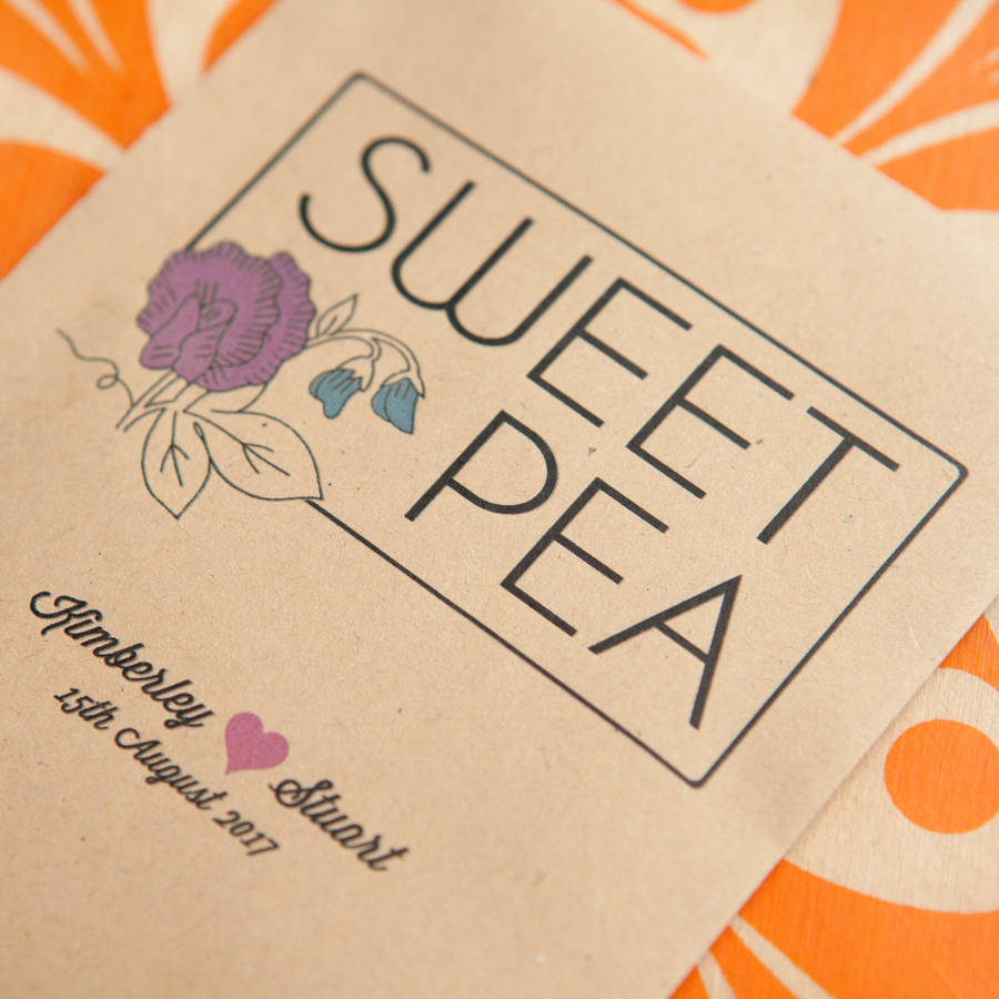 10 Sweet Pea Personalised Seed Packet Favours By Wedding
