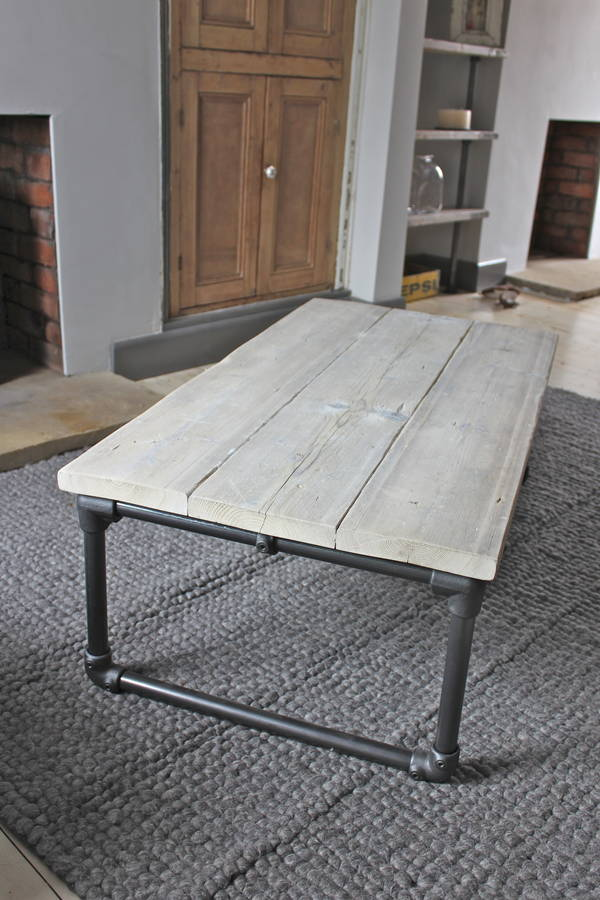 casey white washed reclaimed wood coffee table by urban
