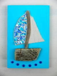 turquoise sailboat mosaic and driftwood wall art by rana ...