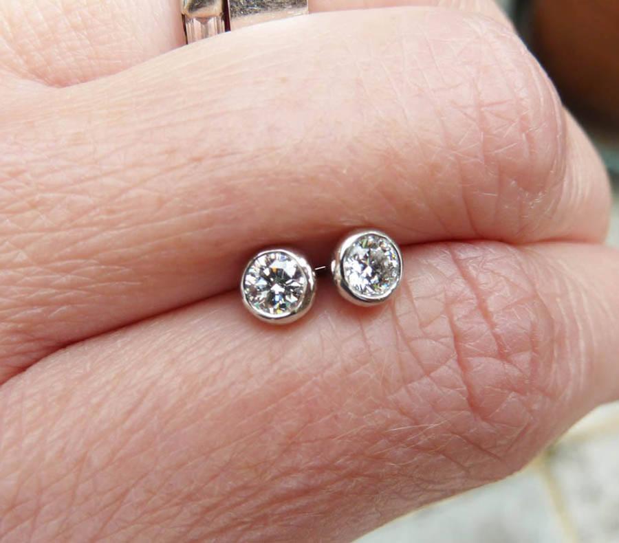 platinum diamond stud earrings by karen johnson
