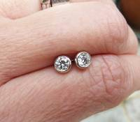 platinum diamond stud earrings by karen johnson ...