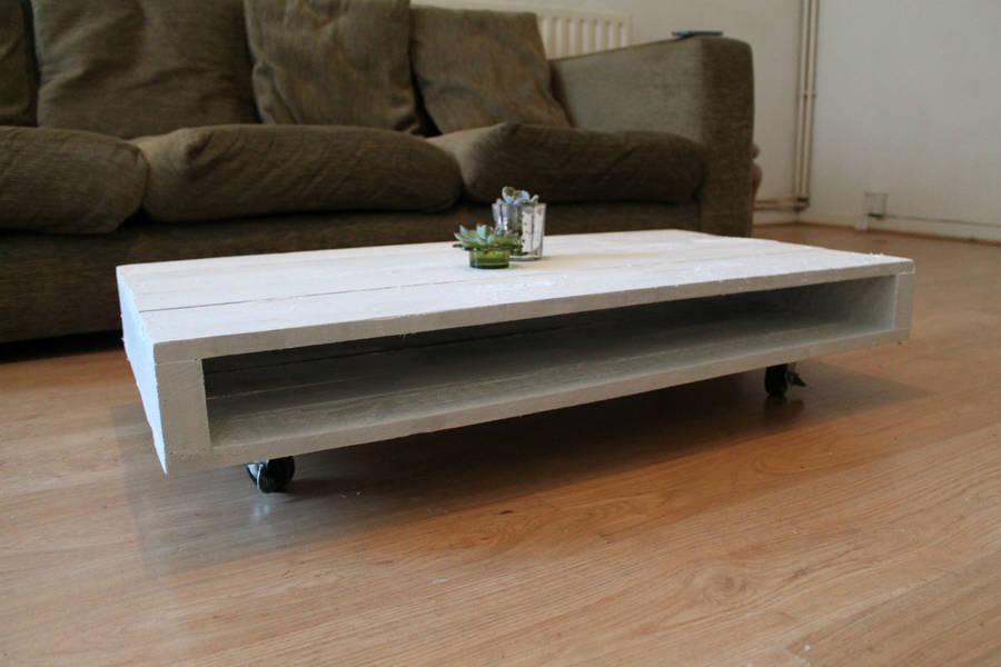 'on wheels' wood coffee table by gas&air studios ltd