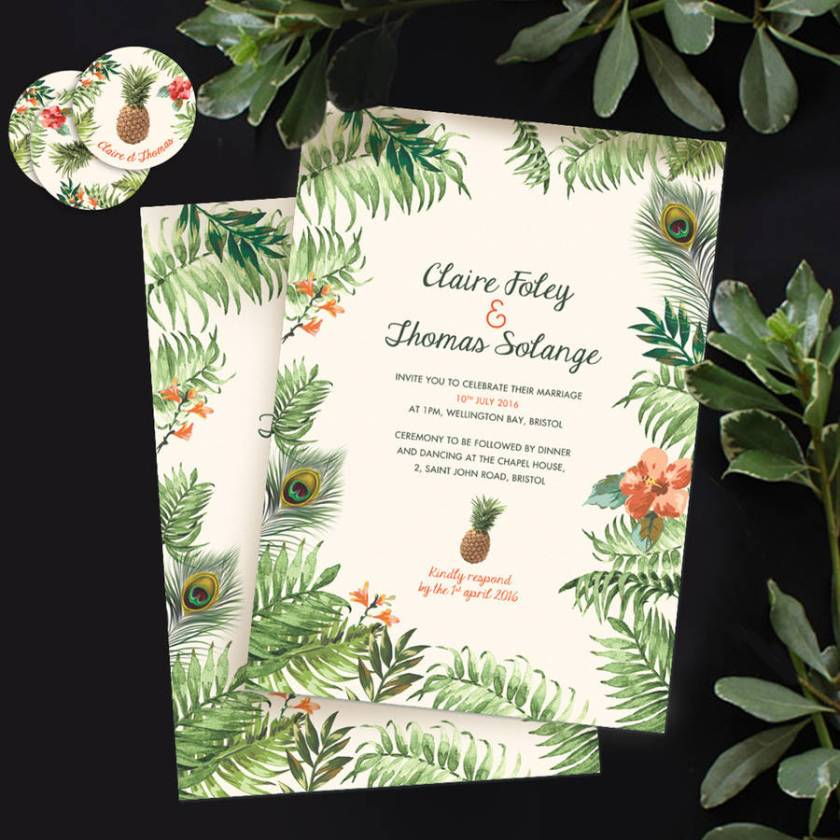 Tropical Jungle Wedding Invitation Exotic Invitation2 Back Pattern