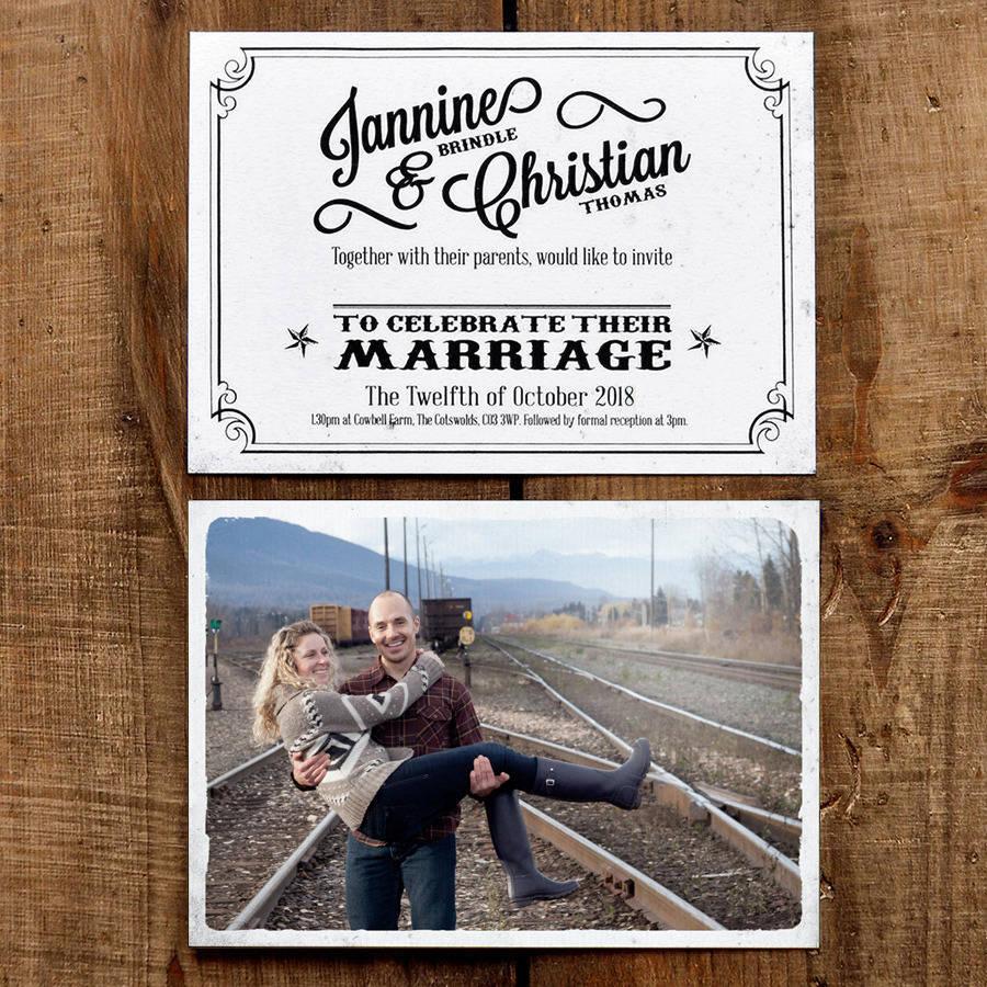 vintage photo postcard wedding invitation by feel good wedding invitations   notonthehighstreet.com