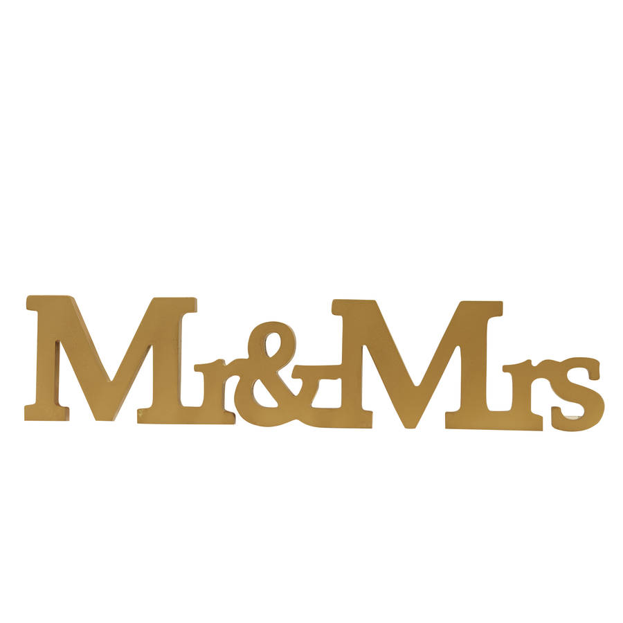 mr and mrs gold wooden wedding sign by ginger ray