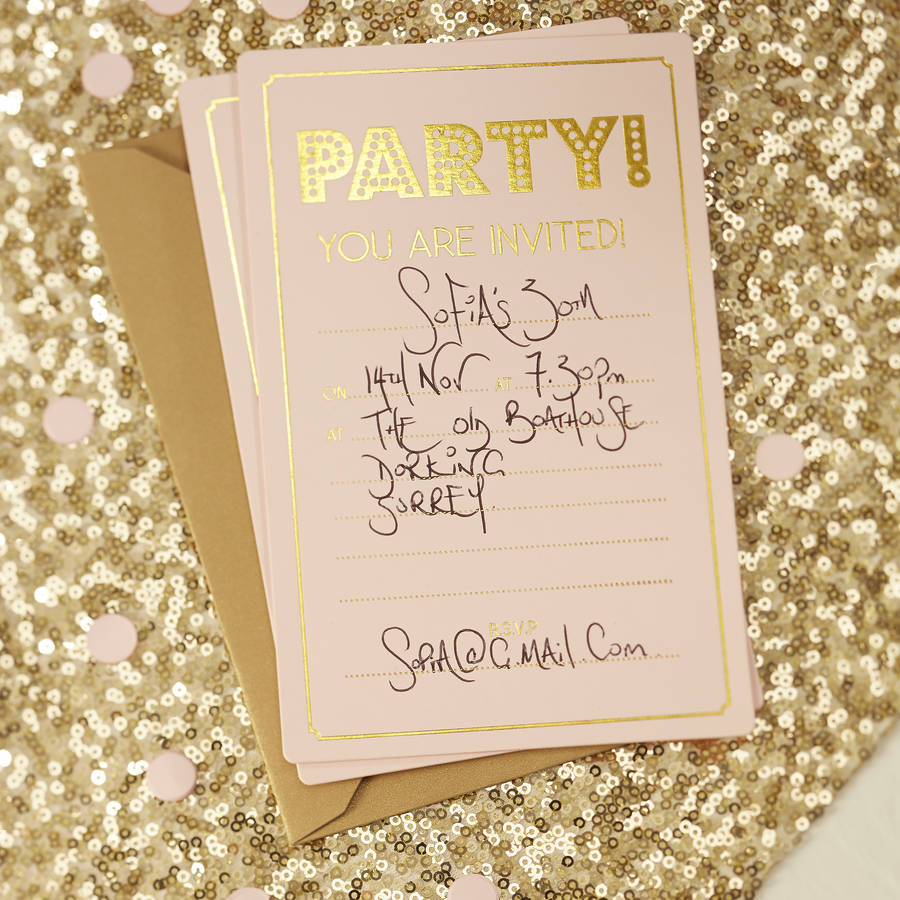 Pastel Pink And Gold Foiled Party Invitations By Ginger