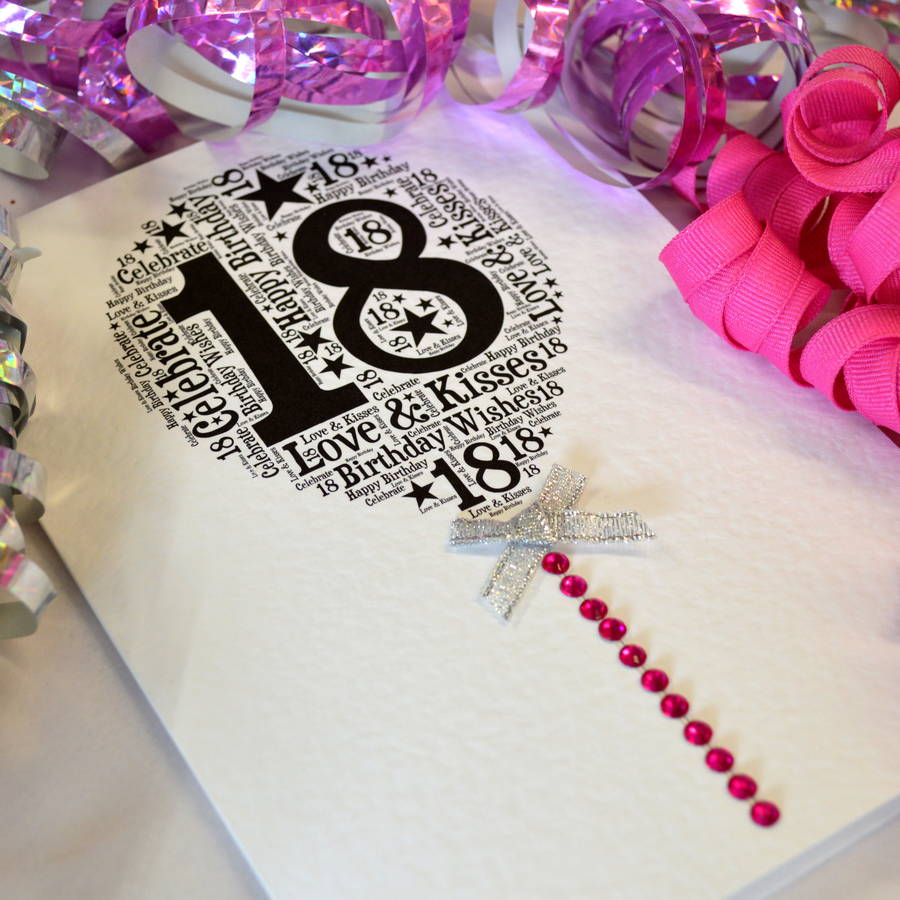 18th Happy Birthday Balloon Sparkle Card By Sew Very