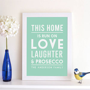 kitchen prints wall shelving units and art notonthehighstreet com personalised this home is run on print