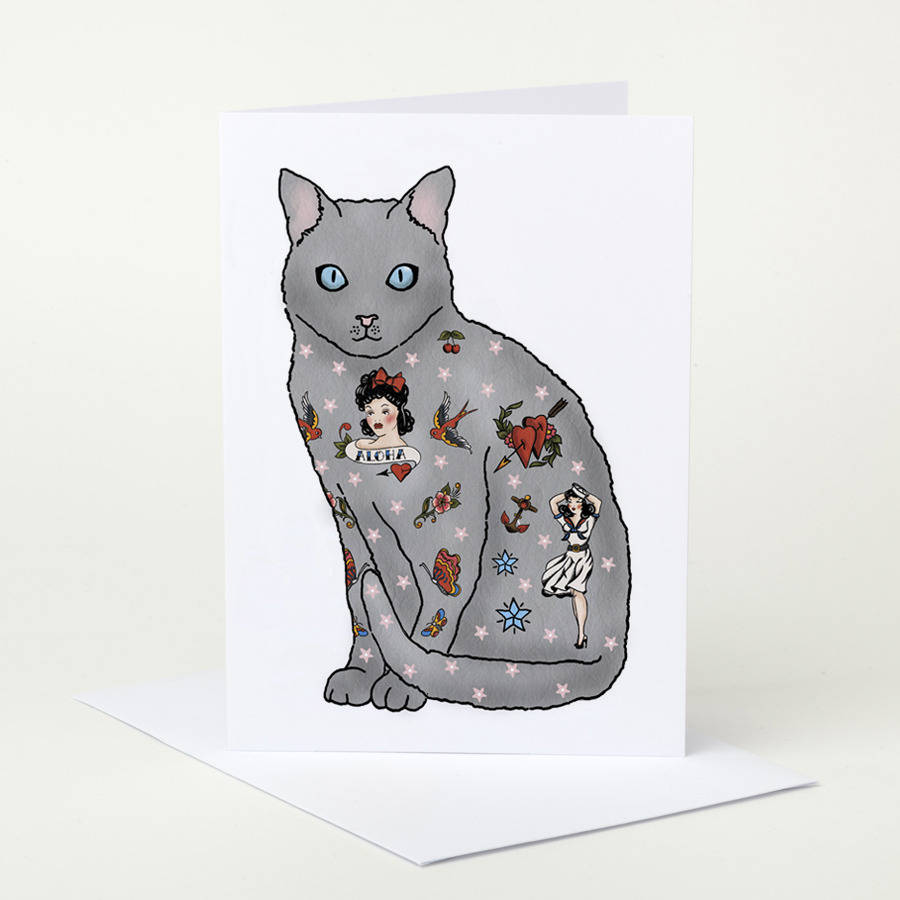 Tattooed Cat Birthday Card By Pugyeah Notonthehighstreet Com