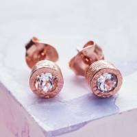 dot rose gold white topaz stud earrings by embers gemstone ...