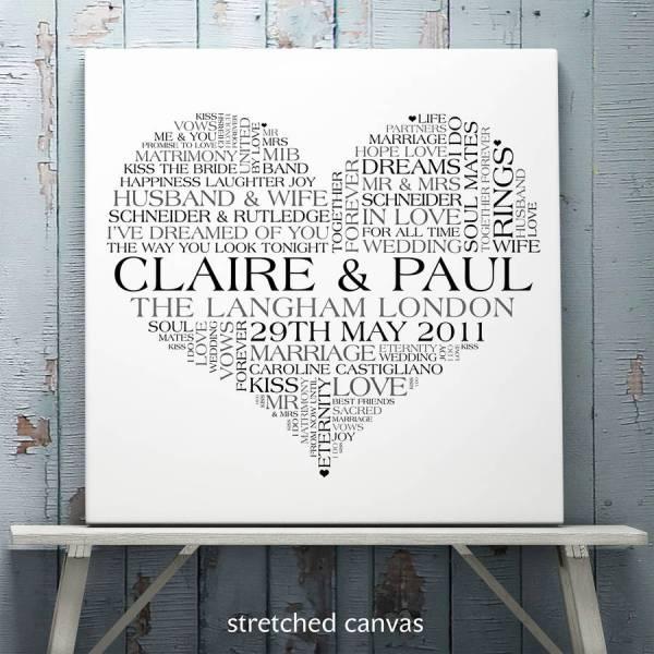 Personalised Wedding Word Art Print Cherry Pete