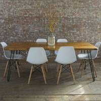 iroko midcentury modern hairpin leg dining table by biggs ...