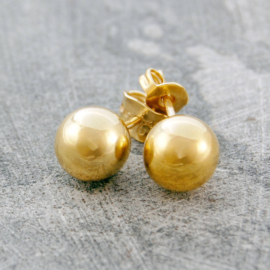 gold ball stud earrings by otis jaxon  notonthehighstreetcom