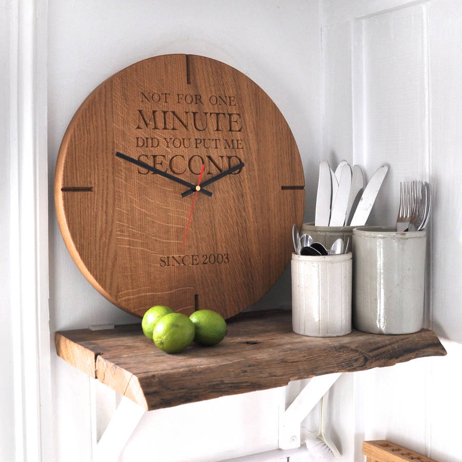 wooden kitchen clock bay window curtains large personalised oak wall by the rope company