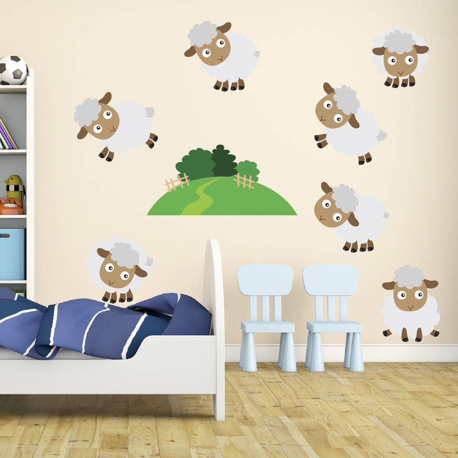 counting sheep kids wall stickers by mirrorin