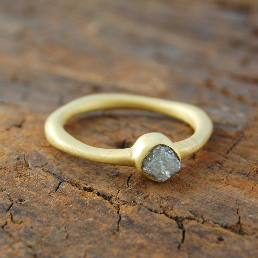 Anniversary Rough Diamond April Birthstone Gold Ring By