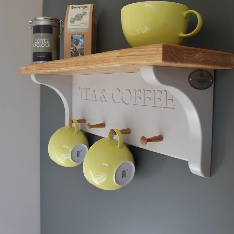 tea and coffee shelf with mug rack