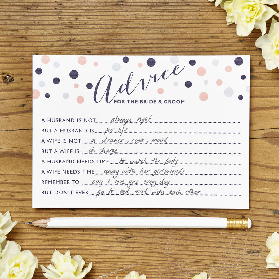 marriage advice cards pack of eight cards by intwine