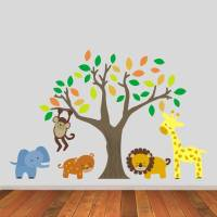 jungle animals and tree wall stickers by mirrorin ...