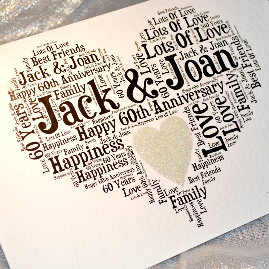 personalised 60th wedding anniversary love sparkle card by