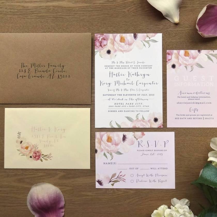 Full Set Printed Mailing Envelope Main Invite Guest Information Card Rsvp