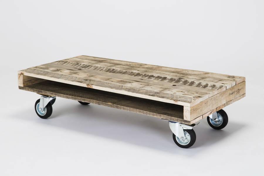 pallet wood coffee tables on wheels by gas&air studios ltd