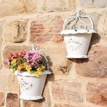 Set Of Two Floral Metal Wall Planters Dibor
